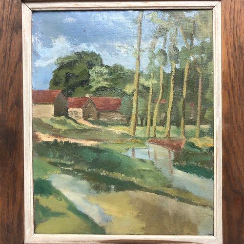 Henri GENET (att. À)  L'auron  Huile sur toile non signée, porte une étiquette d…