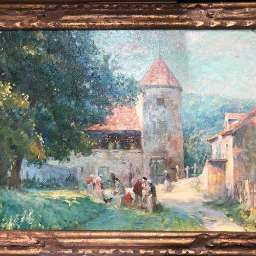 Ecole XXe siècle  Personnages dans une cour de ferme  Huile sur toile, trace de …