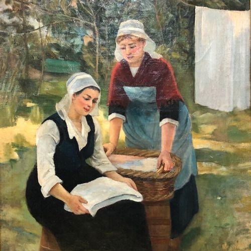 Marguerita PILLINI (XXe siècle)  Les deux lavandières  Huile sur toile signée en…
