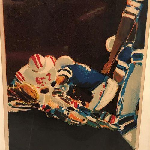 Pierre DOUTRELEAU (1938)  Footballeurs américains  Lithographie en couleurs sign…