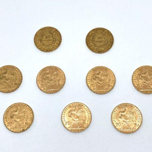 9 pièces de 20 francs or :  NAPOLEON III BARRE : 2 de 1859 A, 2 de 1856 A, 1854 …