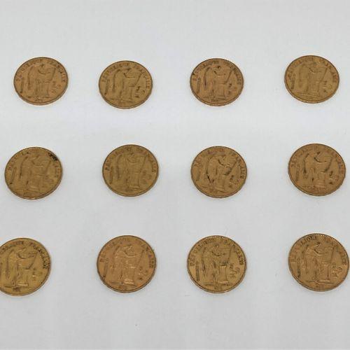 12 pièces de 20 francs or Génie Troisième République   2 de 1876 A   1895 A   2 …
