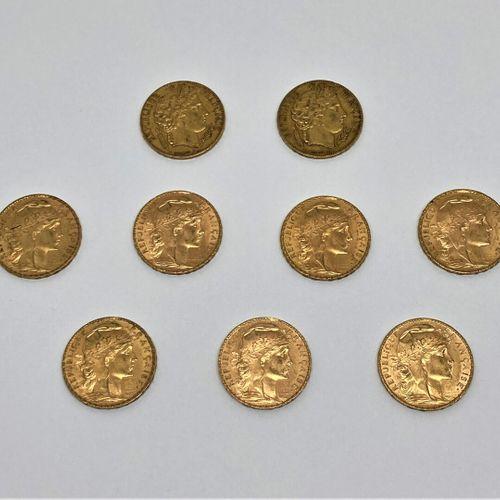 9 pièces de 20 francs or :  Coq Marianne J.C. CHAPLAIN : 2 de 1913, 1904, 2 de 1…
