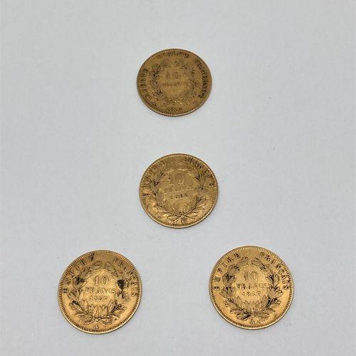 4 pièces de 10 Francs or comprenant :   2 pièces de Napoléon III BARRE 1857 A   …