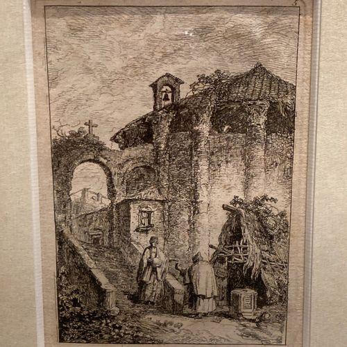 Hubert ROBERT (1733 1808), d'après  Le Temple Antique  La Statue en avant des ru…