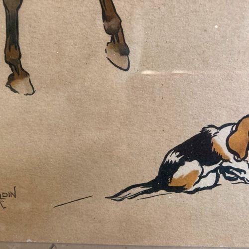 Cecil ALDIN (1870 1935), d'après  Le départ pour la chasse à courre  Gravure en …
