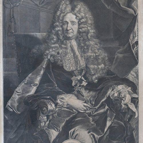 Gérard EDELINCK (1640 1707)  Portrait de Jules Hardouin Mansart. 1704  Gravure a…