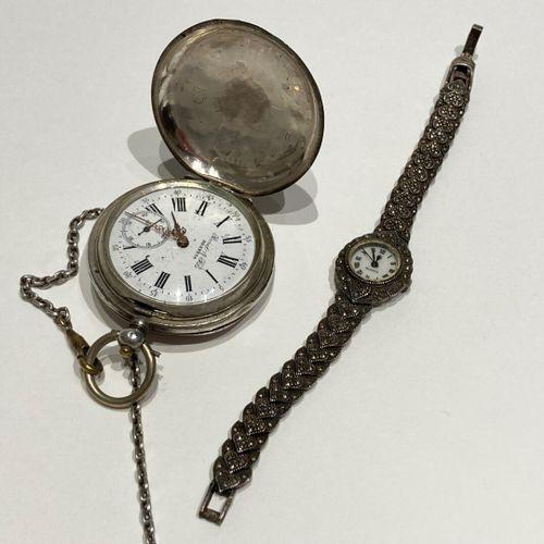 Montre bracelet argent de dame QUARTZ  On y joint :  Montre de poche argent par …
