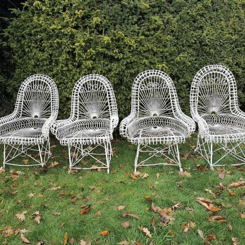 Garden chairs: A rare set of four wirework seats early 20th century