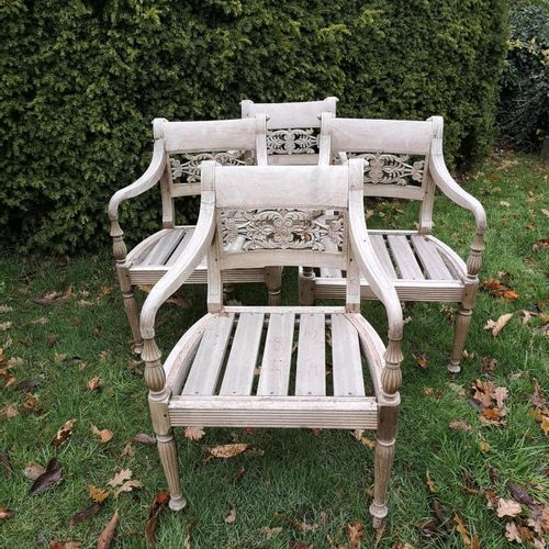 Sealed Bid Auction Garden Seats: A set of four Anglo Indian hardwood chairs 2nd …