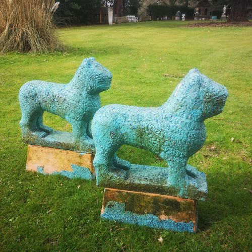 Modern and Garden Sculpture: Gerald Moore A pair of composition stone Egyptian s…