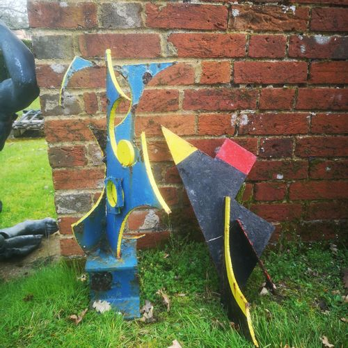 Modern and Garden Sculpture: Gerald Moore Two sheet metal abstract groups The la…