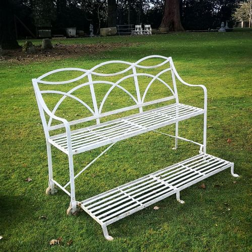 Garden seats: A Regency reeded wrought iron games seat early 19th century with h…