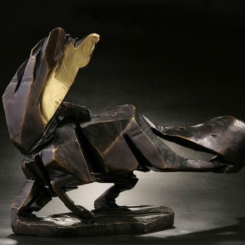Sealed Bid Auction Modern Sculpture: Chang Feng Gallop Bronze Sculpture Signed E…