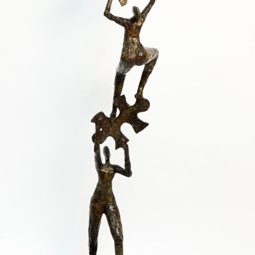Sealed Bid Auction Modern Sculpture: Puzzling Bronze 112cm high by 33cm wide by …