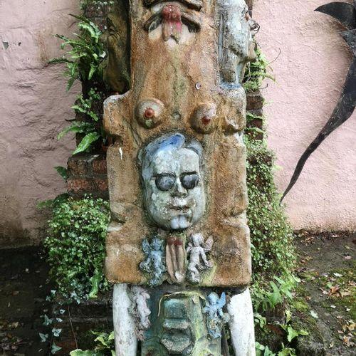 Modern and Garden Sculpture: Gerald Moore Totem figure with applied cherubs Pain…