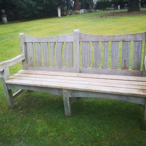 Sealed Bid Auction Garden Seats: A carved hardwood seat modern 184cm wide Sealed…