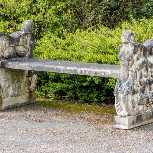 Garden seats: An Italian carved white marble double sided bench circa 1900 176cm…