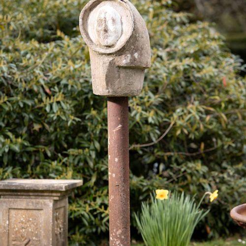 Modern and Garden Sculpture: Gerald Moore Agamemnon mask and helmet Ciment fondu…