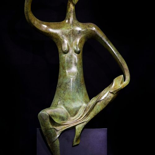 Sealed Bid Auction Modern Sculpture: Isaac Kahn Repose Bronze Signed I.Kahn A.P,…