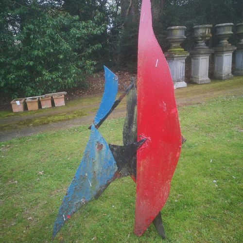 Modern and Garden Sculpture: Gerald Moore Calder style abstract Painted sheet me…