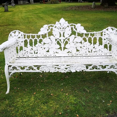 Garden seats: A Coalbrookdale Oak and Ivy pattern cast iron seat made for the Co…