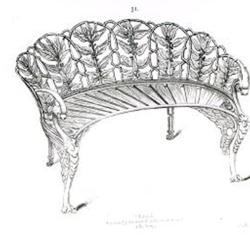 Garden seats: A Coalbrookdale Laurel pattern cast iron seat circa 1870 foundry m…