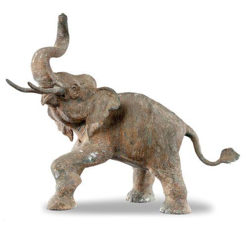 Sealed Bid Auction Modern Sculpture: A little bronze elephant 71cm high Sealed B…