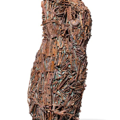 Modern and Garden Sculpture: Gerald Moore Abstract Nails and metal hinges on res…