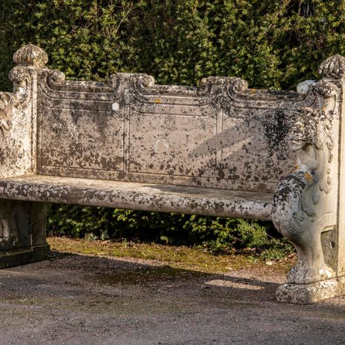 Garden seats: A pair of impressive carved Portland stone seats 19th century 180c…