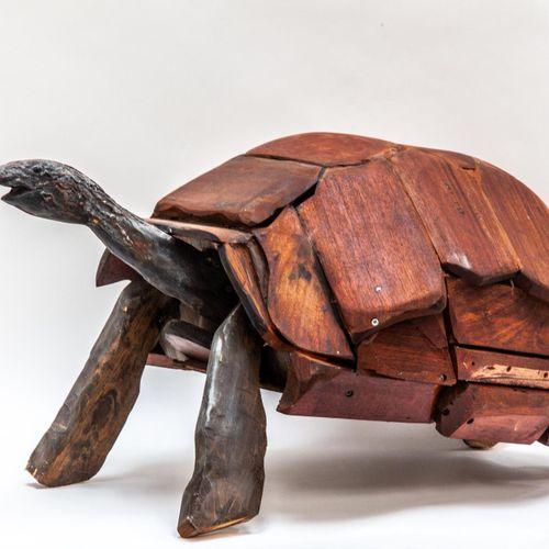 Sealed Bid Auction Modern Sculpture: Clive Fredriksson Tortoise Wood 50cm high b…