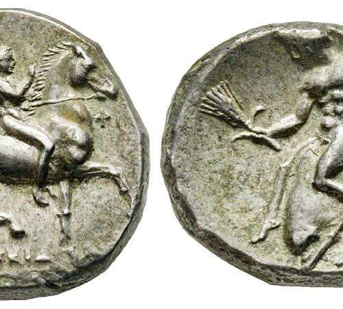Pièces grecques CALABRIA Taras Drachme, 332 281 avant J. C. AG 3.00 g. Ref : Vla…