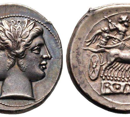Didrachm ou Quadrigatus Républicain Romain & Imperatorial , Rome, 225 212 avant …