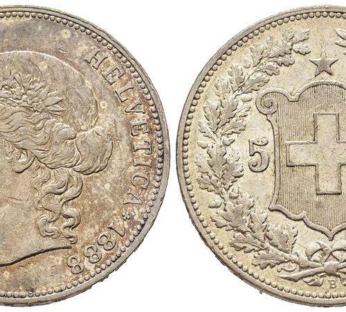 Suisse Confédération helvétique 1848 à nos jours 5 Francs, Bern, 1888, AG 25 g. …