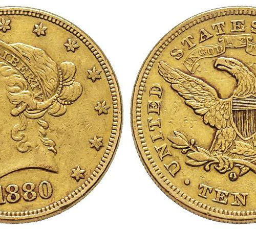 USA 10 Dollars, Nouvelle Orléans, 1880 O, AU 16.66 g. Ref : Fr. 159, KM#102 Cons…