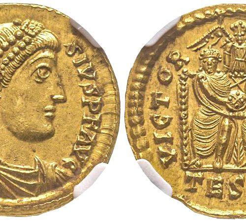 Roman Empire Theodosius I 379 395 (Empereur d'Orient) Solidus, Thessalonique, 37…
