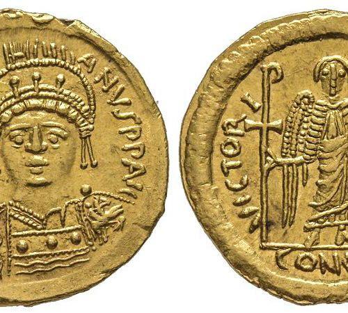 Byzantins Justinianus I 527 565 Solidus, Rome, 542 565, AU 4,42 g. Ref : Hahn 34…