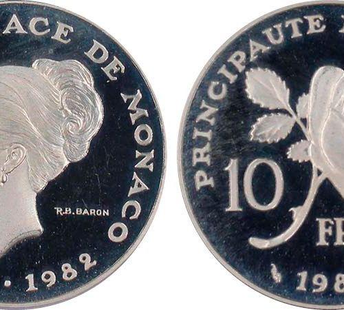 Monaco Monaco, Rainier 1949 2005 Piéfort de 10 Francs Grace Kelly, 1982, AG 22.8…