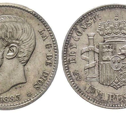 Espagne Alfonso XII 1874 1885 1 Peseta, Madrid, 1883 MSM, AG 5 g. Ref : KM#686, …