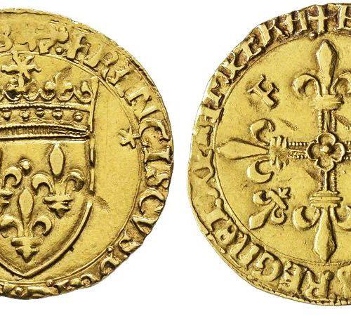 France François Ier 1515 1547 Écu d'or au soleil, Bayonne, type V, étoile sous l…