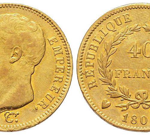 Napoléon en Italie Département de l'Éridan 1802 1814 40 Francs, Turin, 1807 U, A…