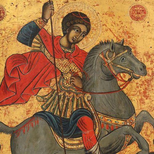 """""""Saint Georges tuant le dragon"""", école grecque (atelier du mont Athos), milieu d…"""