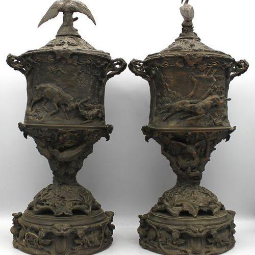PIERRE JULES MENE (PARIGI 1810 1879) SCULPTURE EN BRONZE FRANÇAIS Coppia di vas…