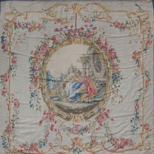 Tapestry around representing a gallant scene with a shepherdess and a shepherdes…