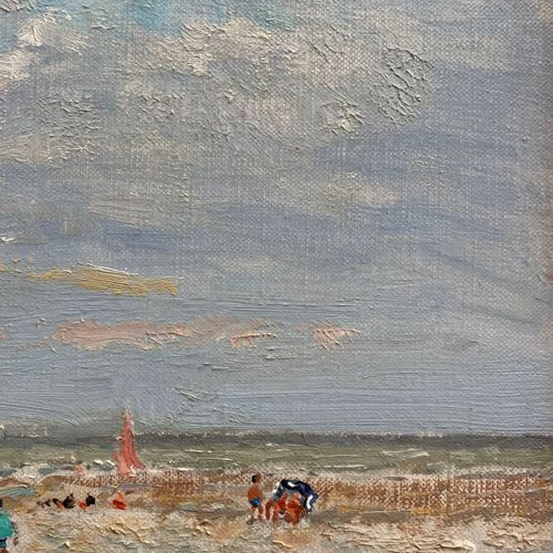 André HAMBOURG (1909 1999)  Beau temps, Marée basse à Deauville  Huile sur toile…