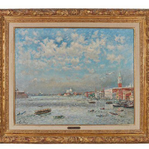 André HAMBOURG (1909 1999)  Venise en Juin, Temps orageux  Huile sur toile, sign…