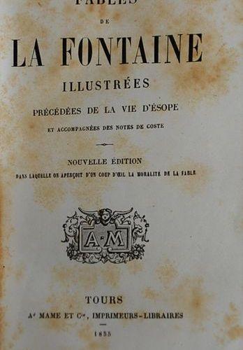 LA FONTAINE. Fables illustrées. Tours, Mame, 1855. Petit in 12. Cartonnage roman…