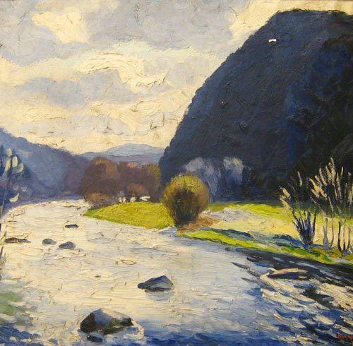 Georges BODSON (né en 1901) L'Amblève à Lorcé. 1921. Huile sur toile, 55 x 67. S…