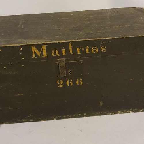"Malles Lot comprising :   LITTLE WOODEN MALL painted black, inscribed ""Maitras 2…"