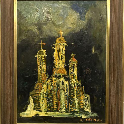 Mihailo BATA PROTIC Mihailo BATA PROTIC  SANS TITRE (vue d'église), 1967  Huile …